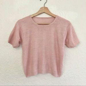BABY PINK SPARKLE CROPPED TEE WITH SPARKLE